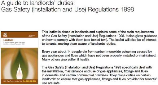 Guide Lines for Landlords Gas Safety